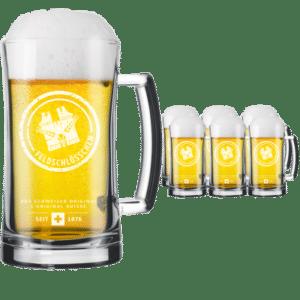 Feldschlösschen 6 Original Bierhumpen mit je 3 dl