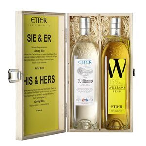 Holzkiste SIE & ER Etter 2 Fl. Williams 42% Vol. und Williamsliqueur 15% Vol. 35 cl