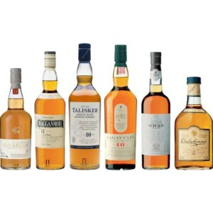 Whisky Classic Malt Diageo Selection 6 x 70 cl (Glenkinchie, Dalwhinnie, Cragganmore, Lagavulin, Talisker, Oban) inkl. Gestell (Barplinth) 43% Vol 70 cl