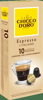 chicco d'oro espresso italiano Caffè Kapseln 10 Pakete mit je 10 Kapseln
