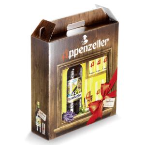 Appenzeller Alpenbitter 29% Vol. 100 cl mit 6 Longdrinkgläser und Geschenkpackung