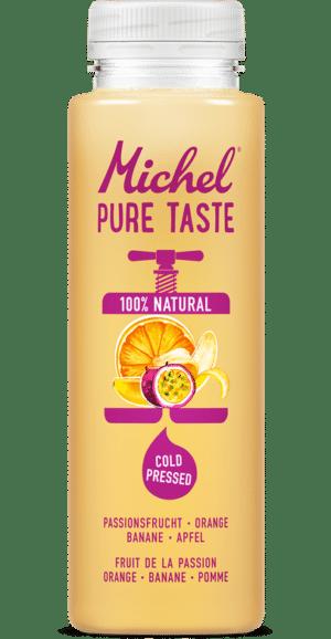 Michel Pure Taste Passionsfrucht, Orange, Banane, Apfel, 24 x 25 cl Pet ( Haltbarkeit bei Anlieferung: min. 10 Tage )