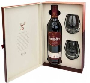 Glenfiddich 15 Years Single Malt Whisky 40% Vol. 70 cl Set mit 2 Gläsern in Geschenkpackung