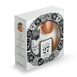 GIN 27 Premium Dry 43% Vol. 70 cl + 2 Kupferbecher und Geschenkpackung