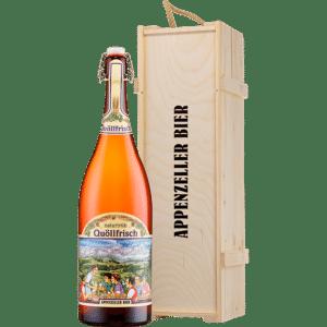 Appenzeller Quöllfrisch naturtrüb 300 cl Magnum Bügelflasche mit Holzdeckel
