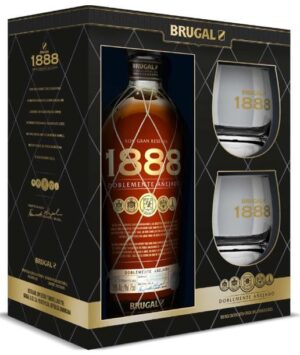 Rum Brugal 1888 Gran Reserva mit 2 Gläsern 40% Vol. 70cl Dominikanische Republik