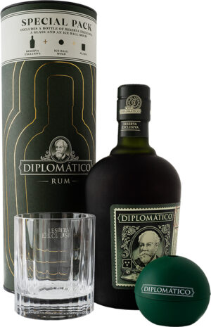 Rum Diplomatico Reserva Exclusiva 40% Vol. 70 cl Geschenkset mit Iceball & Glas